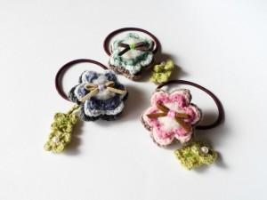 3重お花のヘアゴム3種