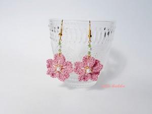 もも色桜のピアス